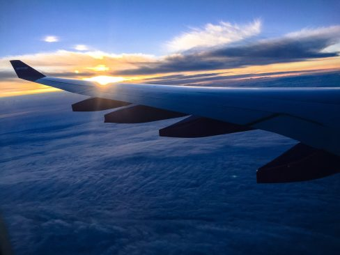 Midnight sun as seen from our airplane
