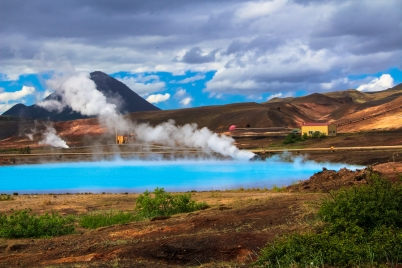 geothermal pools in Mývatn District- an active volcanic area of the north
