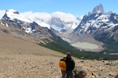 Views of Mt Fitz Roy from Trail to trek to Loma del Pliegue Tumbado