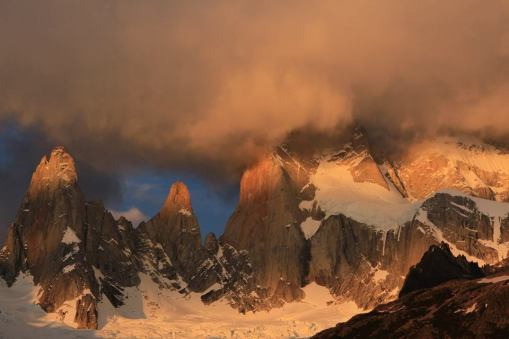 Stunning Sunrise over impressive Fitz Roy from Poincenot Campgroud