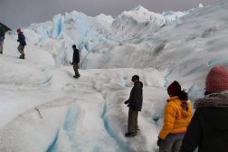 Trekking with crampons on the Perito Moreno Glacier